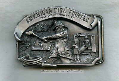 Excellent 1988 Pewter Limited Edition American Firefighter Belt Buckle