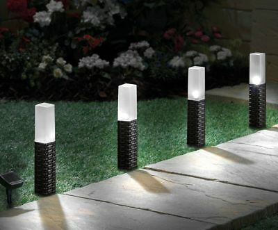 Solar Powered LED Rattan Lights 4 Pack Outdoor Garden Patio Path Guide Stake UK