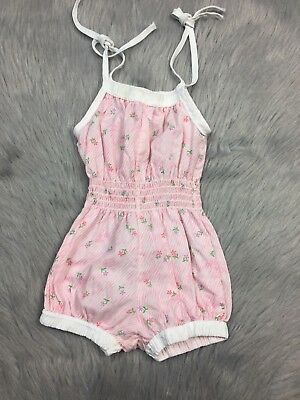 Vintage Baby Girls Pink White Striped Floral Shoulder Tie Sunsuit Romper