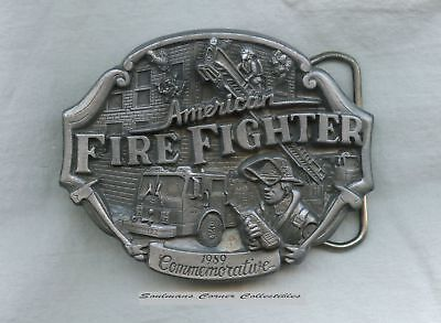 Excellent 1989 Pewter Limited Edition American Firefighter Belt Buckle