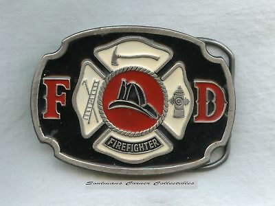 Excellent 1985 Red and White Enameled Pewter Firefighter Belt Buckle