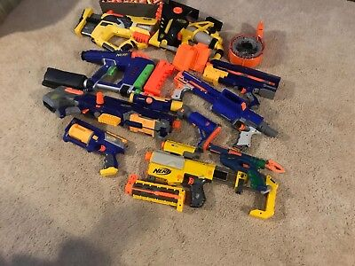 Nerf Gun Lot with additional Nerf ammunition and magazines
