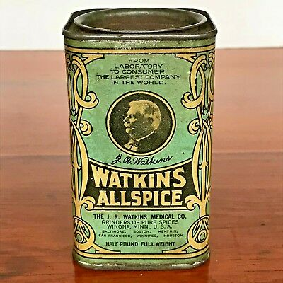 Antique Watkins Medical Co Allspice Tin Vintage Spice Can Advertising Old Litho