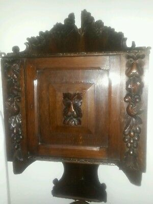 Early 19thC Antique Carved Oak Small Corner Wall Cupboard