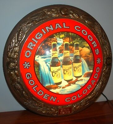 VINTAGE ORIGINAL COORS GOLDEN COLORADO ROUND LIGHTED BEER SIGN - Nice!!!