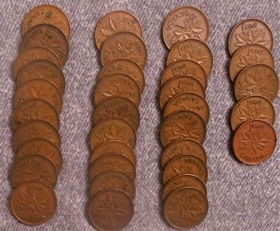 Lot of 35    1947 No Maple Leaf Canadian One Cent Coins Circulated