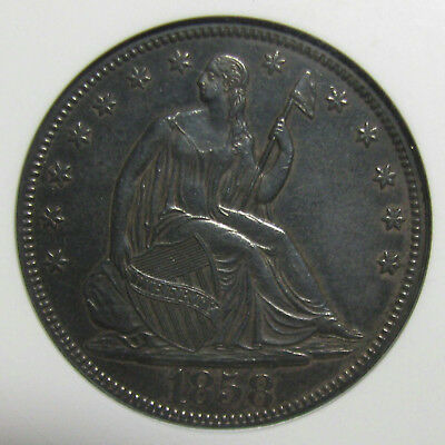 Beautifully Toned 1858 Liberty Seated Half Dollar Graded AU-55 by ANACX