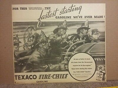 1934 Texaco Fire Chief Gasoline Ad Firemen