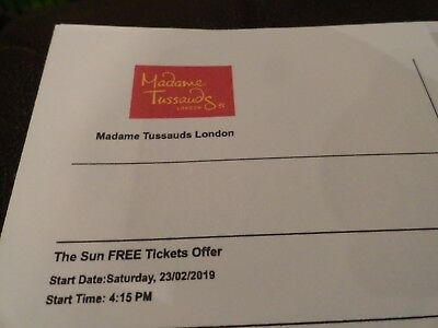 2 X MADAME TUSSAUDS LONDON ADULT TICKETS SATURDAY 23/02/19 23RD FEBRUARY 4.15pm