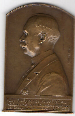 1907 Belgium Medal to Honor Baron of Favereau, Engraved by G. Devreese
