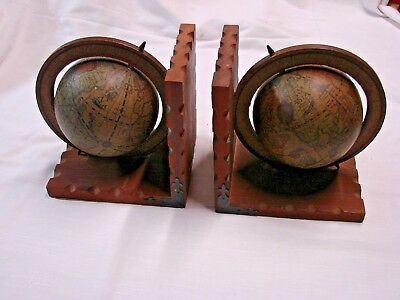 Vintage Wood With World Globe Book Ends