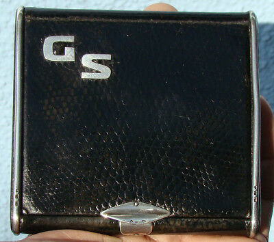 "Sterling Silver & Leather Cigarette Case Initialed ""gs"" Many Hallmarks Nice *g*"