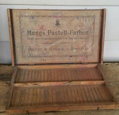 Antique Mengs Pastell-Farben Germany 1874 Wood Box Pastel Box, Dresden