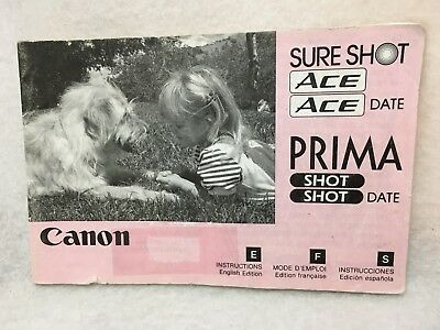 OEM Canon Sure Shot Ace Prima Shot & Date Instruction Manual Guide ENG FRN ESP