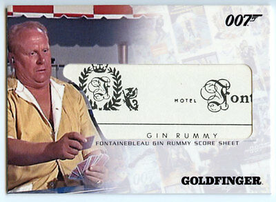 2007 Complete James Bond Costume Relic Card RUMMY SCORE SHEET RC10 GOLDFINGER