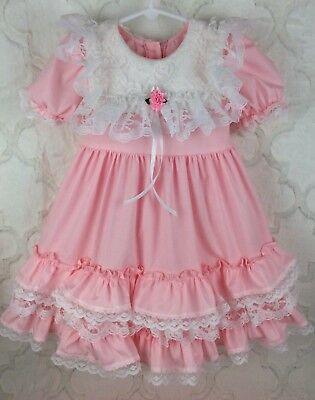 Vintage Style Girls Toddler Size 4 Pink White Lace Custom Frilly Dress