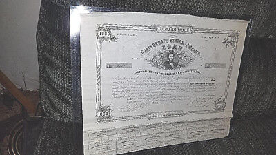Civil War $1000 Confederate States of America loan Bond # 1118  CEISWELL # 100