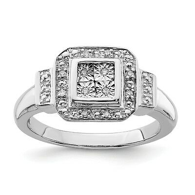 Sterling Silver Diamond Square Ring. Carat Wt- 0.05ct. Metal Wt- 4.51g