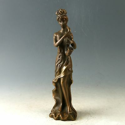 Chinese Exquisite Copper Handwork Carved Beauty Statue CC1020