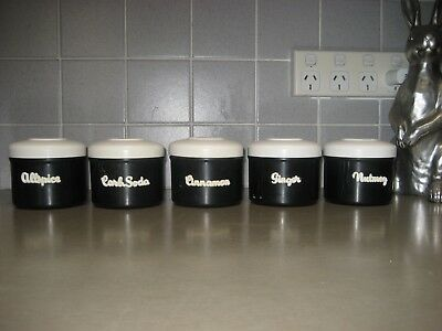 EON Bakelite Spice Set 0f 5 canisters in black and white combination