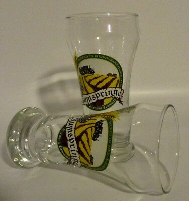 """2 Small """"Rumspringa Brewing Company"""" Beer Glasses - Bird-In-Hand, PA"""