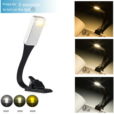USB Rechargeable Light Clip On Night Reading Lamp LED Book Flexible Lamp
