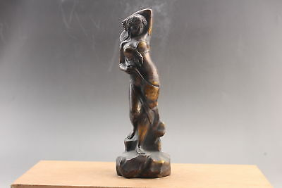 Exquisite Chinese copper hand Carved  girl statue  ar56