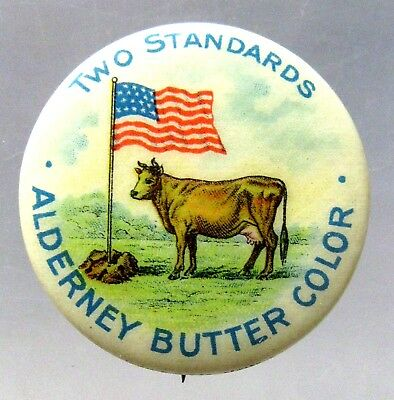 circa 1910 ALDERNEY BUTTER COLOR American Flag pinback button ^