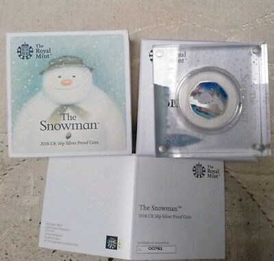 2018 Snowman Coloured Silver Proof 50p Coin LTD 15,000 Low Number 00761