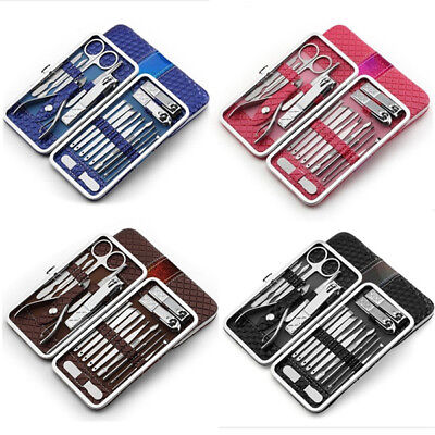 18Pcs Nail Care Manicure Pedicure Set Home Travel Grooming Stainless Tool Kit