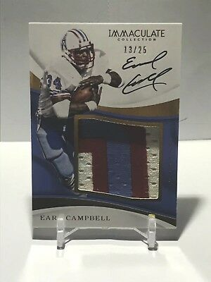 2017 Panini Immaculate Earl Campbell Jumbo 3 Clr Patch On Card Auto /25 GU