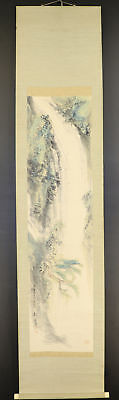 "JAPANESE HANGING SCROLL ART Painting Scenery ""Waterfall"" Asian antique  #E5586"