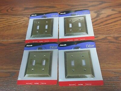 Amerelle 2-Gang Toggle Light Switch Wall Plate lot of 4 -Brass Cast Metal 84TTRB