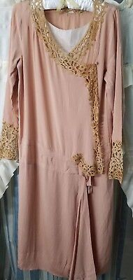 Vintage Art Deco 1920's Peach Silk & Lace Dress Gown 20s