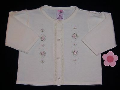 """Gymboree girls """"SPRING BLOSSOMS"""" 6-12mth SWEATER...IVORY w/ EMBROIDERY"""