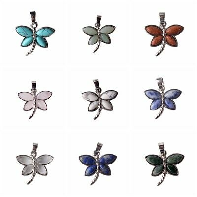 Natural Crystal Opal Gemstone Butterfly Chakra Healing Pendant Charm Necklace