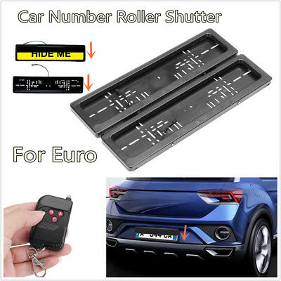 Hide Device Stealth Shutter License Plate Car Number Roller Protect Cover+Remote