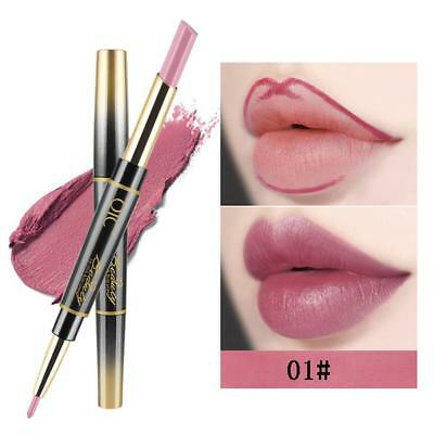Lasting Waterproof Smooth Lip Liner Pencil Lipstick Pen Double Ended Matte Nude