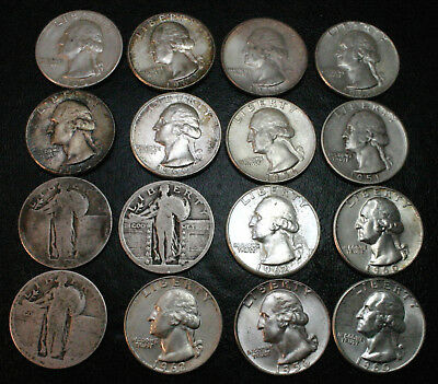 Silver Coin Lot Standing Liberty and Washington Quarters  ~  $4.00 Face Value
