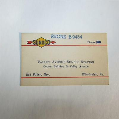 Vintage SUNOCO Business Card... Valley Avenue Winchester Virginia, Red Baker Mgr