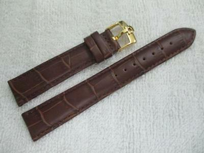 OMEGA18 mm. Brown Genuine Leather Watch Strap / Goldplated / 16 mm. end Buckle