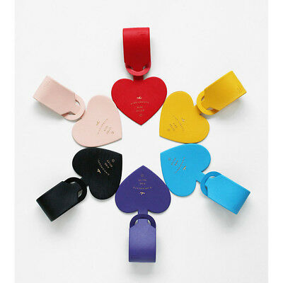 Simple Love Heart Fashion Design Leather ID Address Holder Portable Luggage Tags