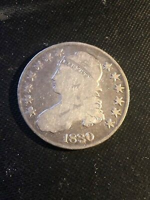 1830 Capped Bust Silver Half Dollar (50c) Lettered Edge Small 0 Bargain Priced