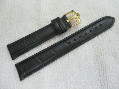 OMEGA18 mm. Black Genuine Leather Watch Strap / Goldplated / 16 mm. end Buckle