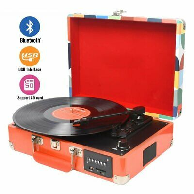 Bluetooth USB Briefcase Turntable Vinyl LP Record Player Built-in Speakers