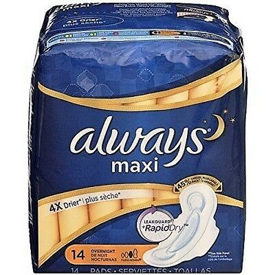 Always Maxi, Size 3, Overnight Pads With Wings, Unscented, 14 Count