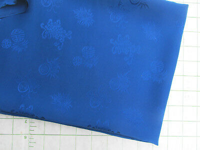 Vintage 1971 Chinese Royal Blue 100 %Silk Fabric -with Designs 28 x 35 Remnant