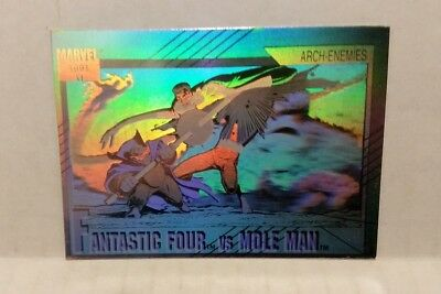 MARVEL UNIVERSE FANTASTIC FOUR vs MOLE MAN  HOLOGRAM CARD - 1991 IMPEL card #H-5