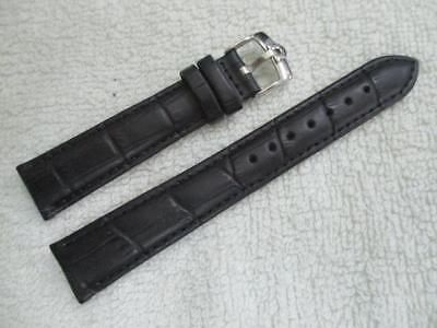 18 mm. Black Genuine Leather Watch Strap - Stainless Steel OMEGA16 mm end Buckle