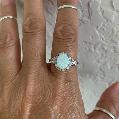 Sterling Silver Oval White Lab Opal with CZ Ring, Wedding Ring, Silver Rings